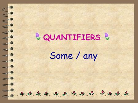 QUANTIFIERS Some / any.