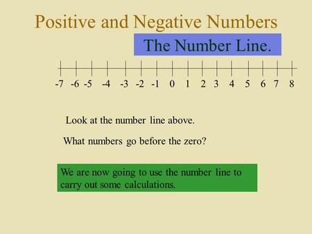 The Number Line. 012345678-2-3-4-5-6-7 Look at the number line above. What numbers go before the zero? We are now going to use the number line to carry.