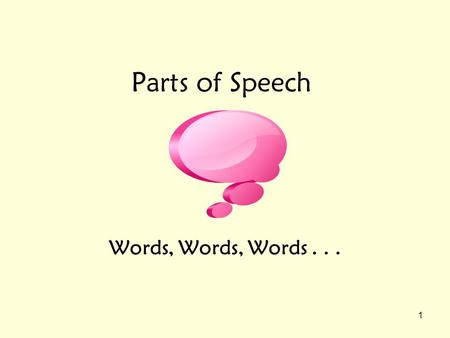 Parts of Speech Words, Words, Words . . ..