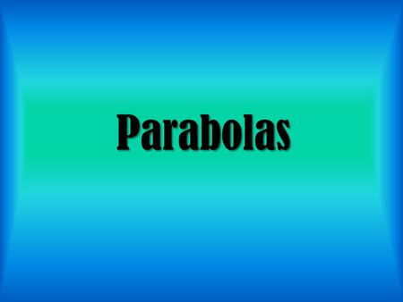 Parabolas Parabolas. We already know A LOT about parabolas 2 forms (standard and vertex) How to find Vertex (h,k) or (-b/2a) Axis of Symmetry Characteristics.