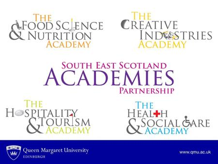 South East Scotland Academies Partnership The partners: Queen Margaret University Edinburgh College Borders College City of Edinburgh Council East Lothian.