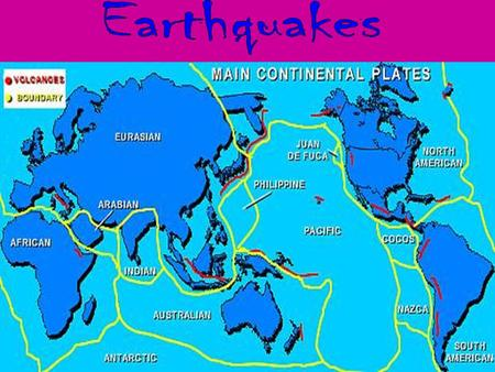 Earthquakes are the shaking, rolling or sudden shock of the earth's surface. Earthquakes happen along fault lines in the earth's crust. Earthquakes.