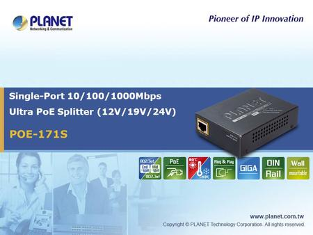 Single-Port 10/100/1000Mbps Ultra PoE Splitter (12V/19V/24V)