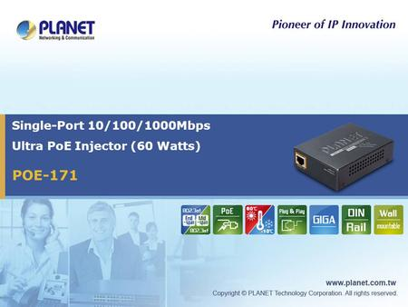 POE-171 Single-Port 10/100/1000Mbps Ultra PoE Injector (60 Watts)