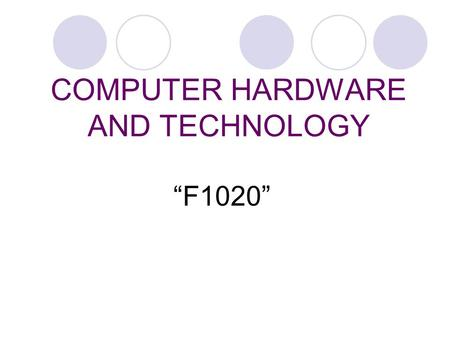 "COMPUTER HARDWARE AND TECHNOLOGY ""F1020"". COMPUTER CASING."