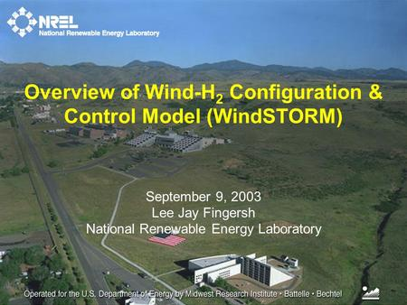 September 9, 2003 Lee Jay Fingersh National Renewable Energy Laboratory Overview of Wind-H 2 Configuration & Control Model (WindSTORM)