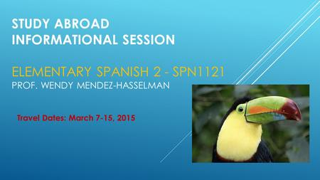 STUDY ABROAD INFORMATIONAL SESSION ELEMENTARY SPANISH 2 - SPN1121 PROF. WENDY MENDEZ-HASSELMAN Travel Dates: March 7-15, 2015.