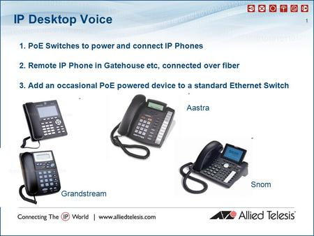 1 IP Desktop Voice 1. PoE Switches to power and connect IP Phones 2. Remote IP Phone in Gatehouse etc, connected over fiber 3. Add an occasional PoE powered.