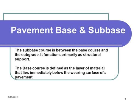 Pavement Base & Subbase CEE 320 Steve Muench 8/13/2015 1 The subbase course is between the base course and the subgrade. It functions primarily as structural.
