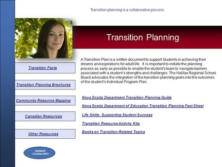 Canadian Resources Community Resource Mapping Transition Planning Brochures Transition Facts Nova Scotia Department Transition Planning Guide Nova Scotia.