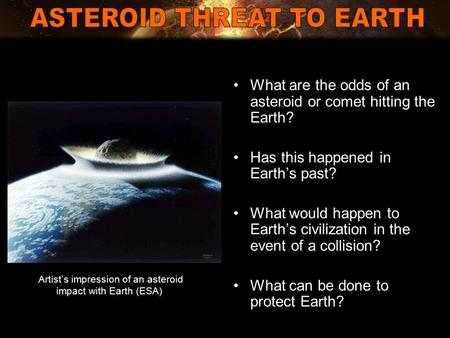 What are the odds of an asteroid or comet hitting the Earth? Has this happened in Earth's past? What would happen to Earth's civilization in the event.