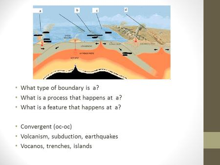 What type of boundary is a? What is a process that happens at a? What is a feature that happens at a? Convergent (oc-oc) Volcanism, subduction, earthquakes.