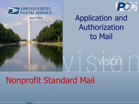 Nonprofit Standard Mail Application and Authorization to Mail.
