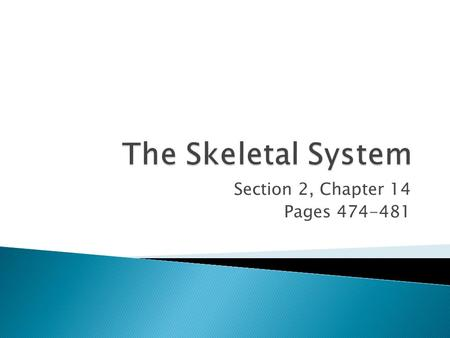 Section 2, Chapter 14 Pages 474-481.  Your framework, or skeleton, is made up of all the bones in your body.  Your skeleton has five major functions.