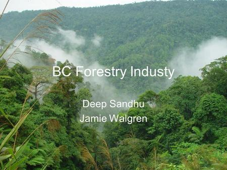 BC Forestry Industy Deep Sandhu Jamie Walgren. Contents History of Forestry Industry Tariffs Pine Beetle Housing Market Boom Housing Market Crash Canadian.