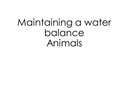 Maintaining a water balance Animals. Adaptations Adaptation characteristic which makes an organism well suited to its environment. Evolutionary adaptations.