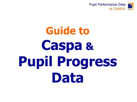 Pupil Performance Data at CNMSS Guide to Caspa & Pupil Progress Data.