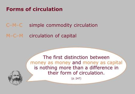Forms of circulation C–M–C M–C–M The first distinction between money as money and money as capital is nothing more than a difference in their form of circulation.