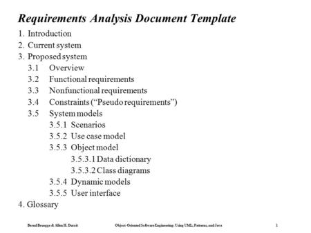 Lecture  Requirement Analysis Functional Modeling Object Modeling