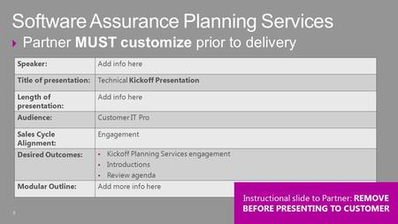 1  Partner MUST customize prior to delivery Software Assurance Planning Services 1 Speaker:Add info here Title of presentation:Technical Kickoff Presentation.