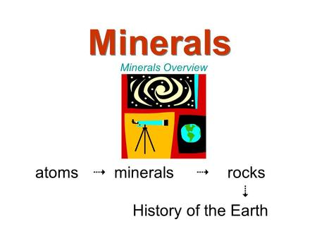 Minerals Minerals Overview atoms  minerals  rocks  History of the Earth.
