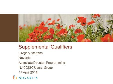 Gregory Steffens Novartis Associate Director, Programming NJ CDISC Users' Group 17 April 2014 Supplemental Qualifiers.