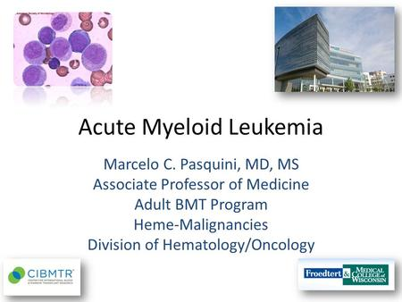 Acute Myeloid Leukemia Marcelo C. Pasquini, MD, MS Associate Professor of Medicine Adult BMT Program Heme-Malignancies Division of Hematology/Oncology.