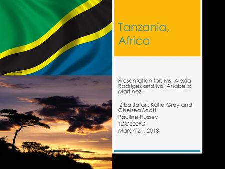 Tanzania, Africa Presentation for: Ms. Alexia Rodrigez and Ms. Anabella Martinez Ziba Jafari, Katie Gray and Chelsea Scott Pauline Hussey TDC200FD March.