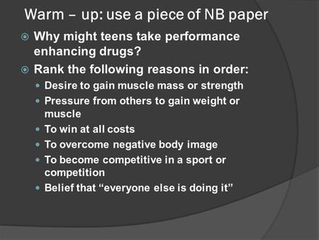 should performance enhancing drugs be banned from sports essay Performance enhancing drugs have been a big controversy in sports for years it is used in many s.
