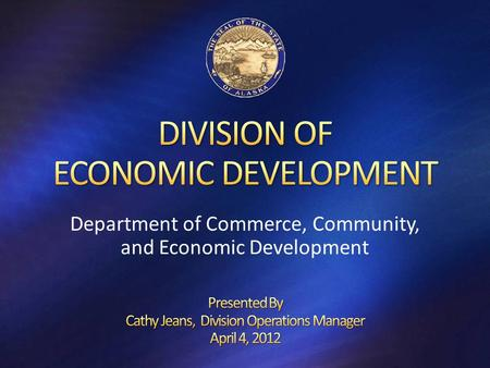 Department of Commerce, Community, and Economic Development.