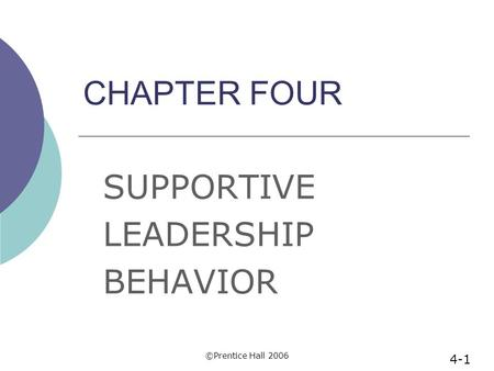 ©Prentice Hall 2006 CHAPTER FOUR SUPPORTIVE LEADERSHIP BEHAVIOR 4-1.