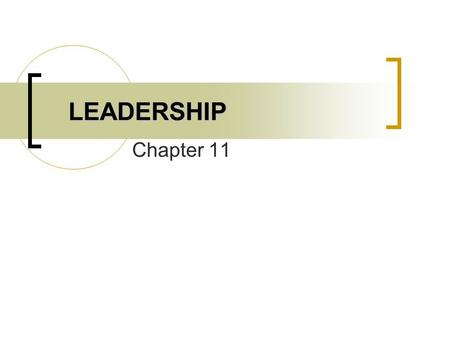 LEADERSHIP Chapter 11.