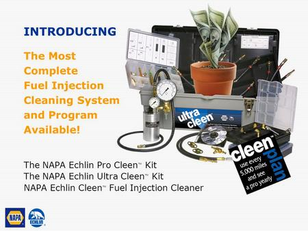 The Most Complete Fuel Injection Cleaning System and Program Available! The NAPA Echlin Pro Cleen ™ Kit The NAPA Echlin Ultra Cleen ™ Kit NAPA Echlin Cleen.