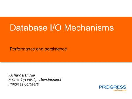 Database I/O Mechanisms Performance and persistence Richard Banville Fellow, OpenEdge Development Progress Software.
