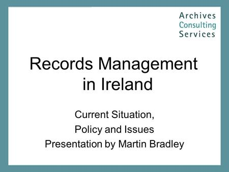 Records Management in Ireland