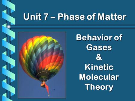 Behavior of Gases & Kinetic Molecular Theory Unit 7 – Phase of Matter.
