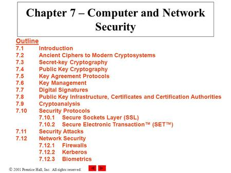  2001 Prentice Hall, Inc. All rights reserved. Chapter 7 – Computer and Network Security Outline 7.1Introduction 7.2Ancient Ciphers to Modern Cryptosystems.