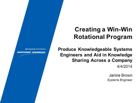 Creating a Win-Win Rotational Program 4/4/2014 Janine Brown Systems Engineer Produce Knowledgeable Systems Engineers and Aid in Knowledge Sharing Across.