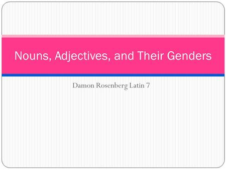 Damon Rosenberg Latin 7 Nouns, Adjectives, and Their Genders.