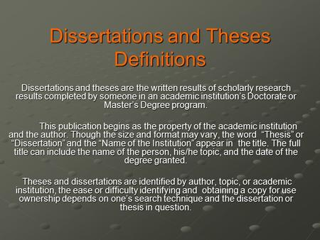 Dissertation And Thesis Difference