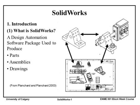 ENME 001 Block Week Course University of Calgary SolidWorks-1 SolidWorks 1. Introduction (1) What is SolidWorks? A Design Automation Software Package Used.