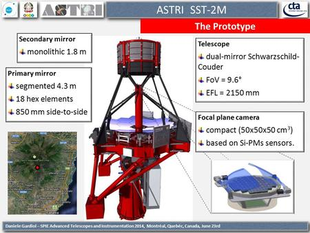 1 ASTRI SST-2M The Prototype Telescope dual-mirror Schwarzschild- Couder FoV = 9.6° EFL = 2150 mm Daniele Gardiol – SPIE Advanced Telescopes and Instrumentation.
