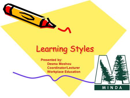 Learning Styles Presented by: Desma Moshou Coordinator/Lecturer
