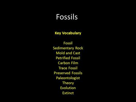 Fossils Key Vocabulary Fossil Sedimentary Rock Mold and Cast Petrified Fossil Carbon Film Trace Fossil Preserved Fossils Paleontologist Theory Evolution.