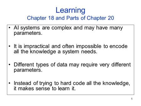 Learning Chapter 18 and Parts of Chapter 20