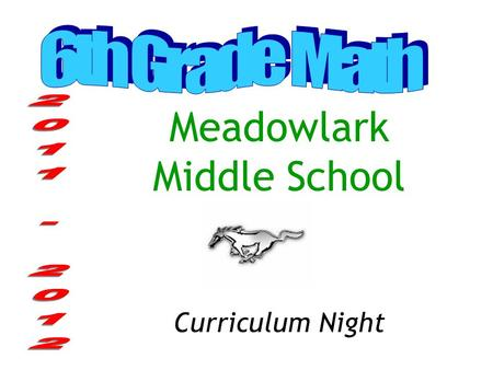 Meadowlark Middle School Curriculum Night Middle School Math Pathways: Traditional 6 th Grade – Math 6 7 th Grade – Math 7 8 th Grade – Math 8 These.