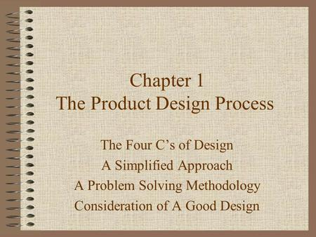 Chapter 1 The Product Design Process