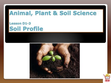 Animal, Plant & Soil Science Lesson D1-3 Soil Profile.