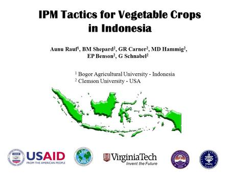 IPM Tactics for Vegetable Crops in Indonesia 1 Bogor Agricultural University - Indonesia 2 Clemson University - USA Aunu Rauf 1, BM Shepard 2, GR Carner.
