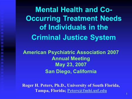 1 Mental Health and Co- Occurring Treatment Needs of Individuals in the Criminal Justice System American Psychiatric Association 2007 Annual Meeting May.